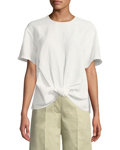 Amber Short-Sleeve Viscose/Linen Shirt