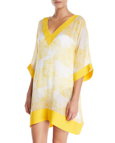 Helly Floral-Print Silk Coverup Tunic