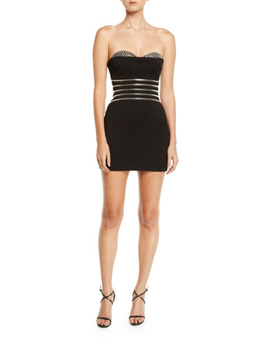 Bustier Mini Cocktail Dress w/ Grommet & Zip Details