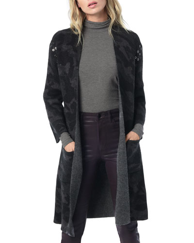 Kiera Camo Open-Front Long Cardigan with Grommets