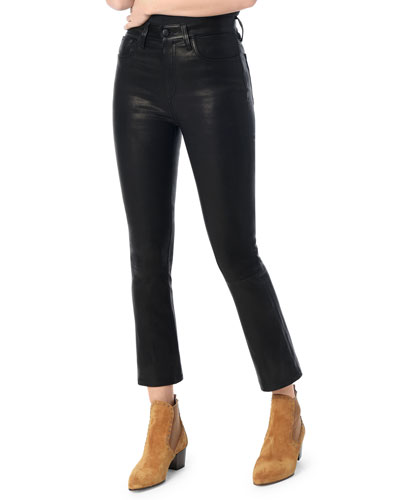 The Cropped Skinny Boot-Cut Leather Jeans