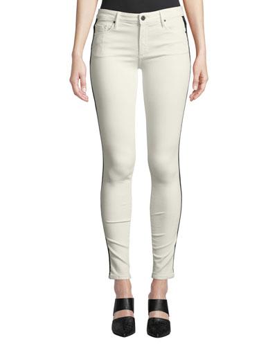 Jude Mid-Rise Skinny Jeans w/ Tuxedo Stripes