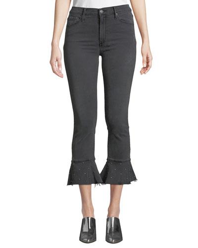 Stella High-Rise Ruffle Frayed Jeans w/ Studded Hem
