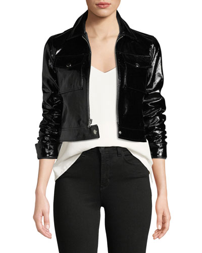 Lex Cropped Patent Leather Moto Jacket