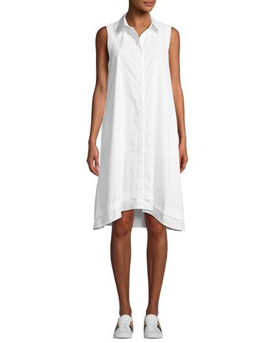 Clover Button-Front Sleeveless Shirtdress