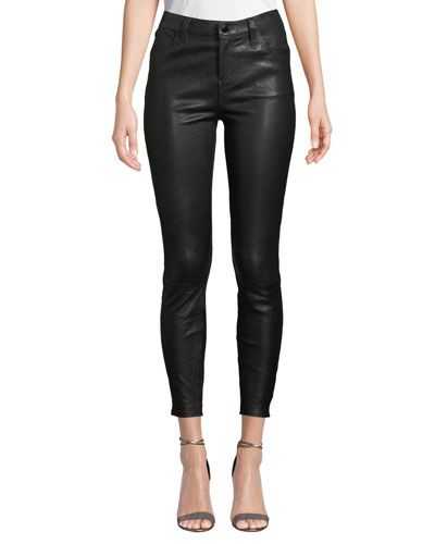 Mid-Rise Leather Ankle Skinny Pants