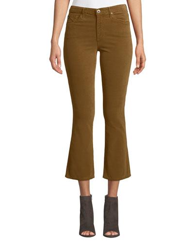 Jodi Velvet Cropped High-Rise Flare Jeans