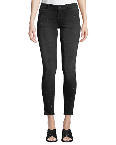 Emma Low-Rise Skinny Ankle Jeans with Rhinestones