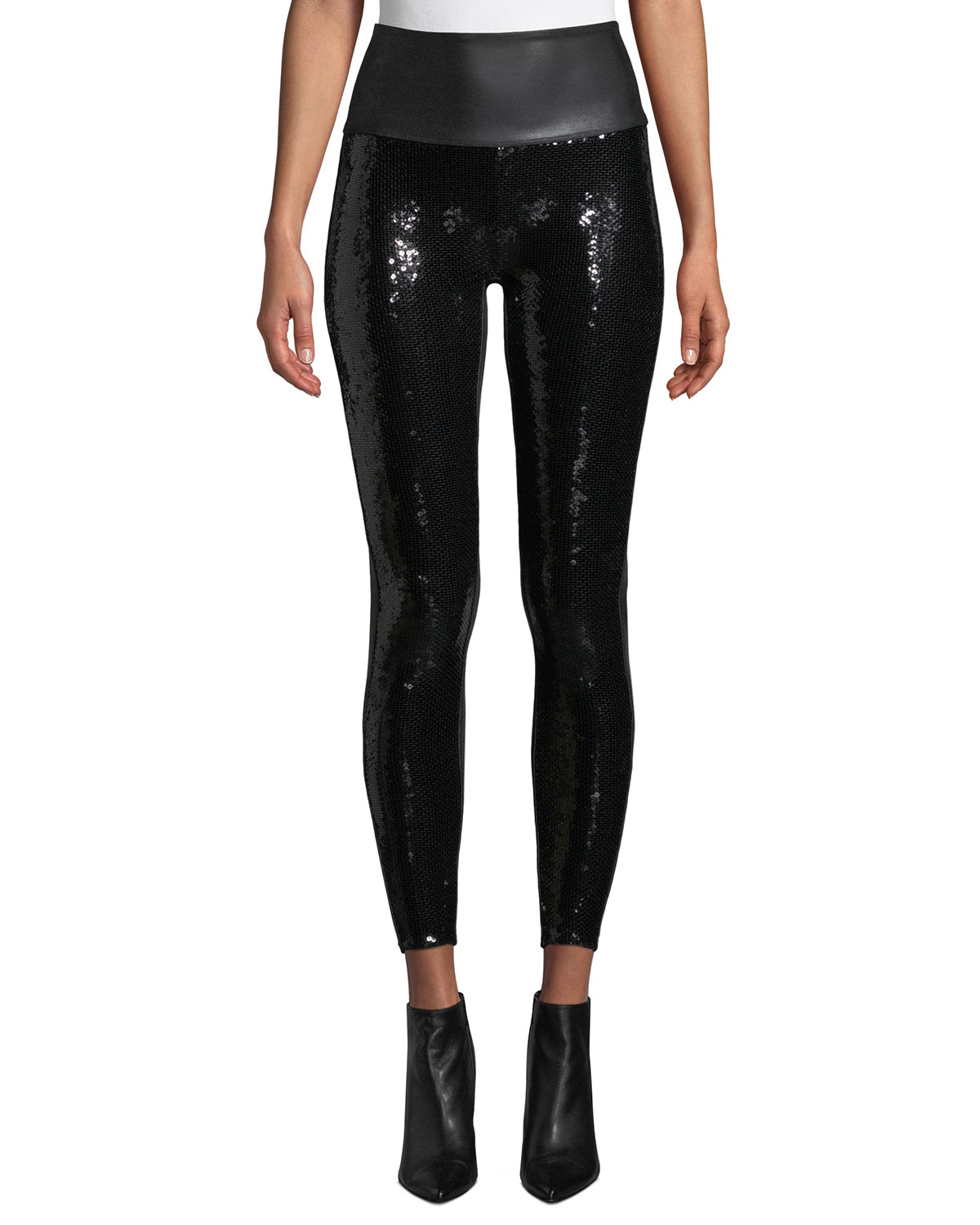 Spanx FAUX-LEATHER SEQUIN HIGH-RISE LEGGINGS