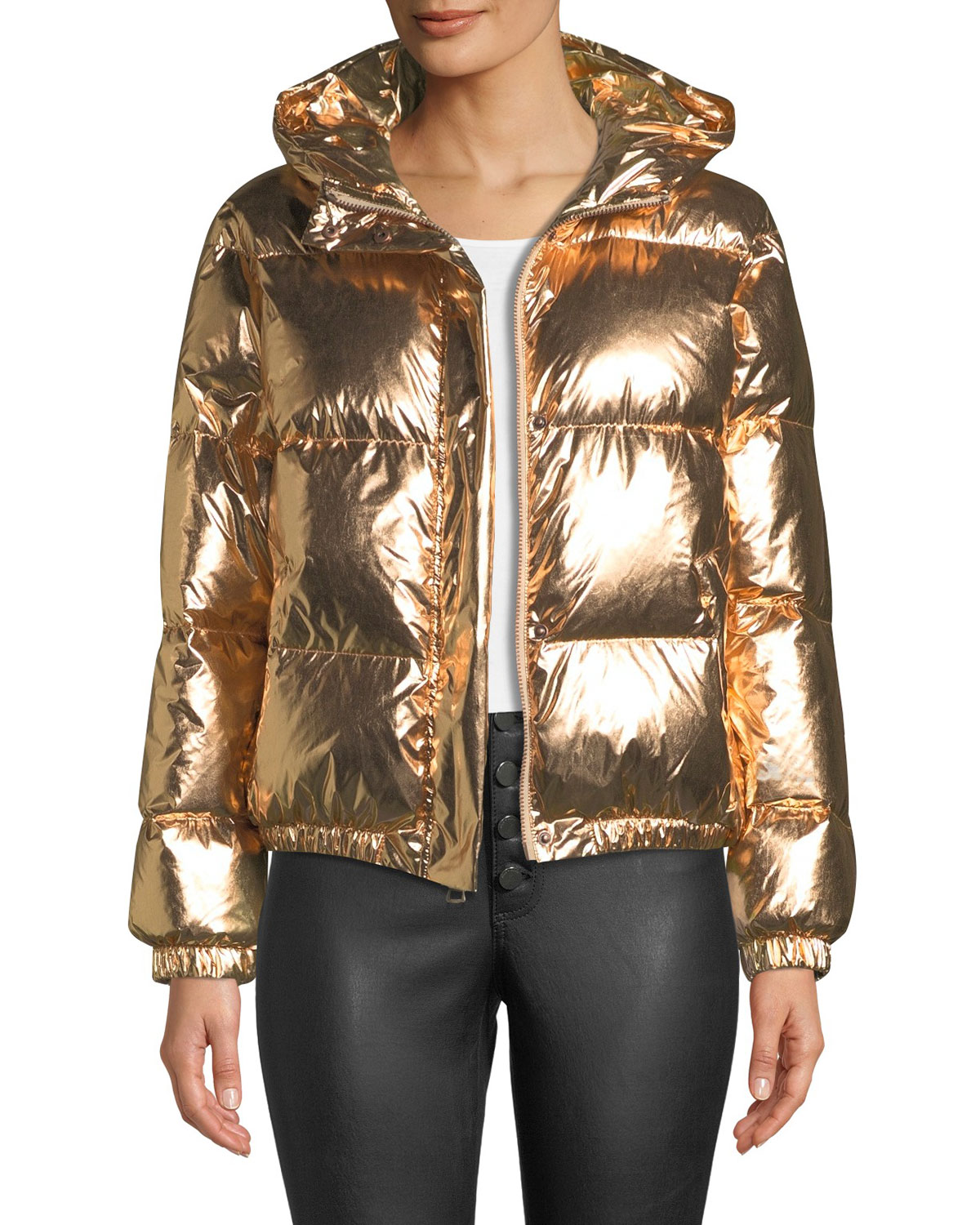 Durham Hooded Metallic Puffer Jacket