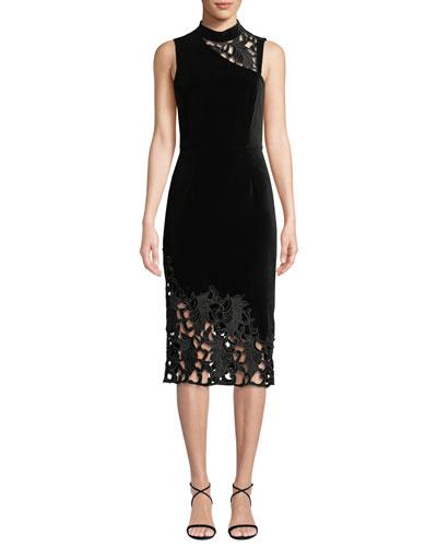 Kiana Mock-Neck Lace Combo Dress