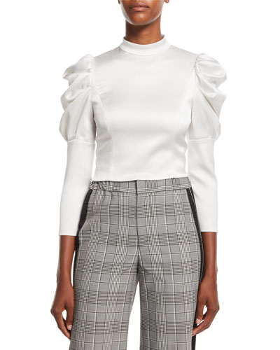 Brenna Fitted Puff-Sleeve Top