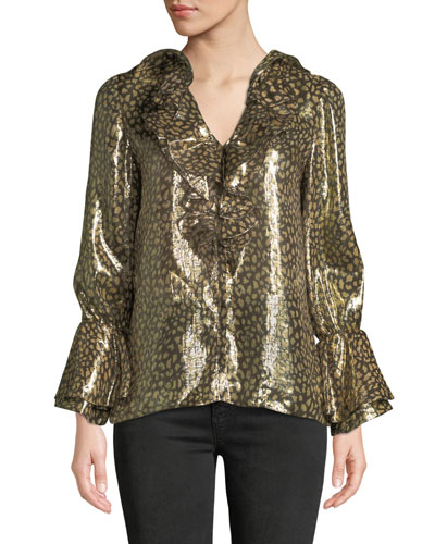 Elliott Long-Sleeve V-Neck Metallic Blouse w/ Ruffled Trim