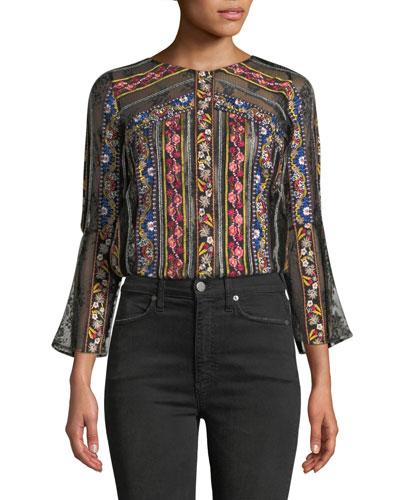 Larue Embroidered Slit-Sleeve Top