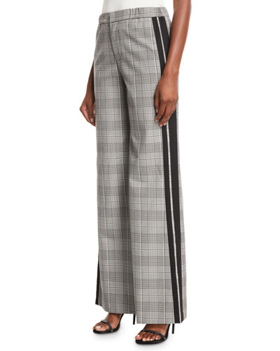 Bo Side-Stripe Wide-Leg Plaid Pull-On Pants