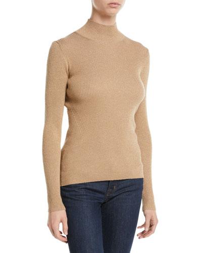 Tess Metallic Ribbed-Knit Turtleneck Sweater