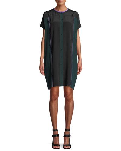 Colorblock Button-Front Silk Shirtdress