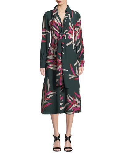 Von Floral Silk Tie-Front Midi Dress