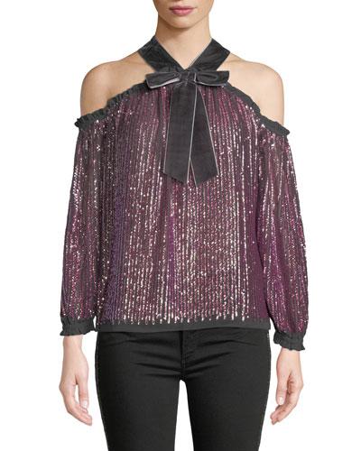 Kaleidoscope Sequin Velvet Cold-Shoulder Top