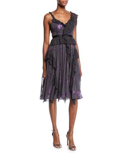 Interstella Lace Ruffle Embellished Cocktail Dress