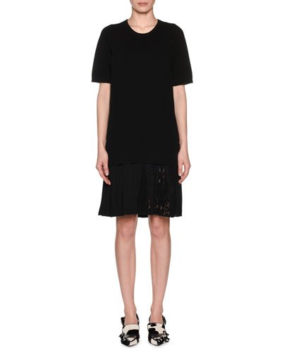 Pleated Lace Hem Short-Sleeve Crewneck Wool Dress