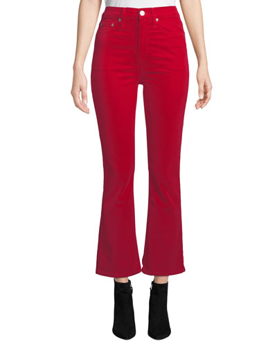 Mid-Rise Cropped Velvet Kick-Flare Pants