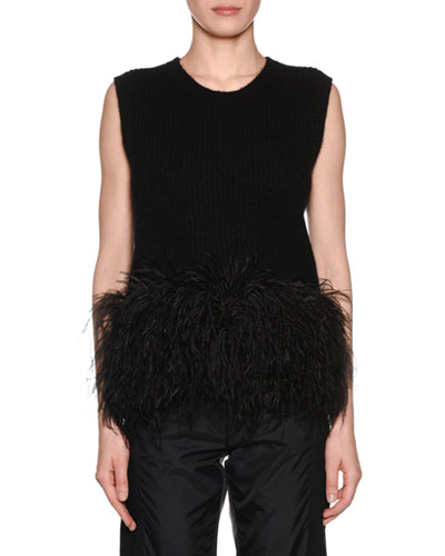 Scoop-Neck Wool Feather Tank