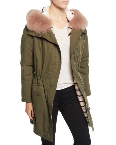 Reversible Intarsia Parka Coat w/ Fur Trim