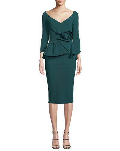 Almunda Peplum & 3D Flower Dress