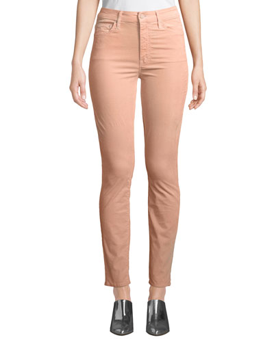 Looker Velour High-Waist Skinny Ankle Jeans