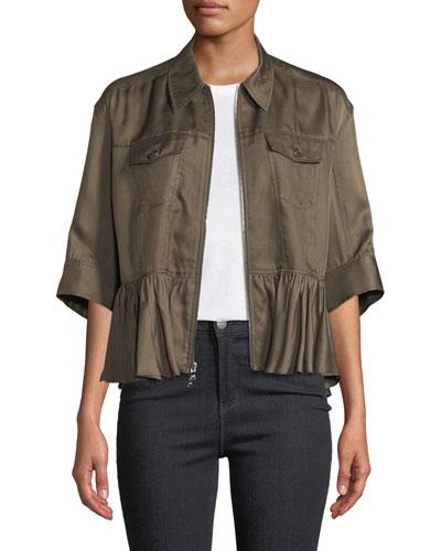 Helene Short-Sleeve Cropped Peplum Jacket