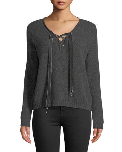 Amelia Lace-Up Wool Long-Sleeve Sweater
