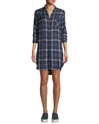Bianca Plaid Long-Sleeve Shirtdress