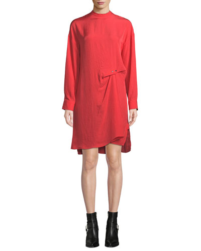2d9f86da4a Jacklin Draped Long-Sleeve Shift Dress