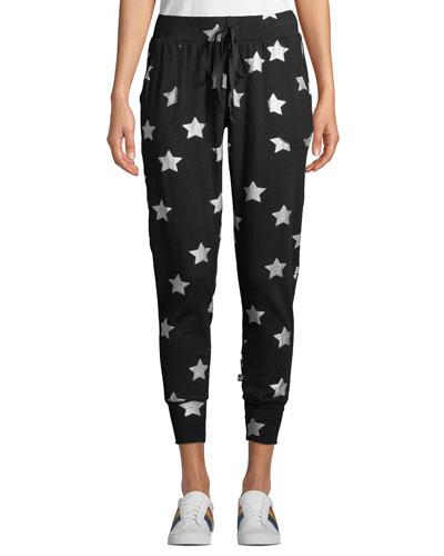 Foil-Print Stars Jogger Pants