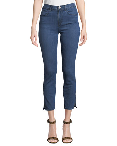 Luna Cropped Skinny Jeans with Split Hem