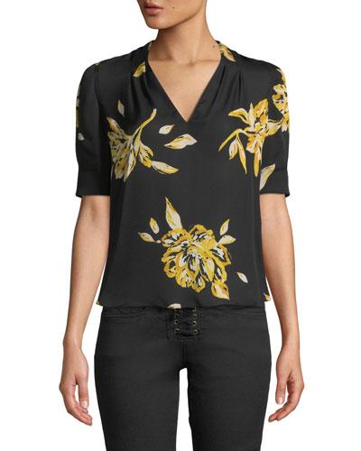 Ance Short-Sleeve Floral Silk Top