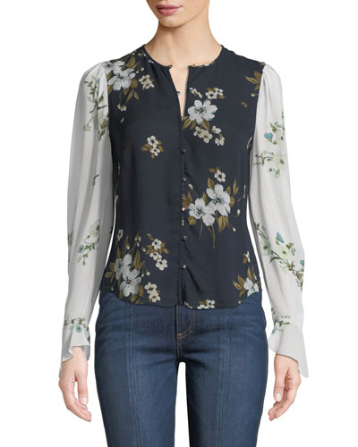 Abboid Floral Silk Long-Sleeve Top