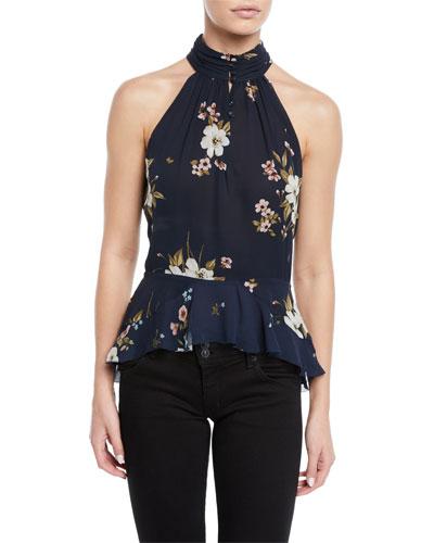 Abbigayl Floral-Print Silk Halter Peplum Top