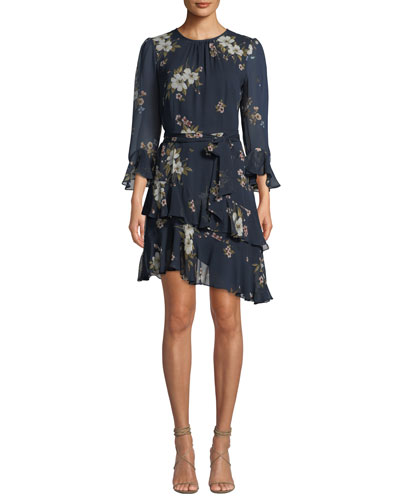 Kayane 3/4-Sleeve Asymmetric-Ruffle Floral-Print Silk Dress