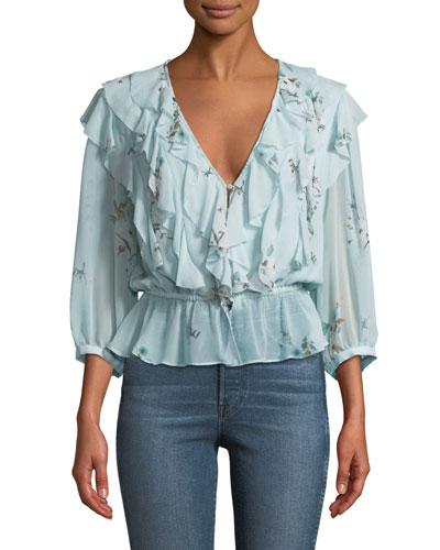 Arleyne Ruffled Floral Silk Top
