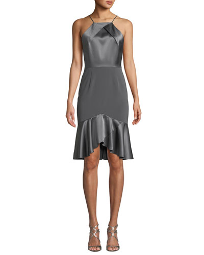 Bella High-Low Satin Cocktail Dress