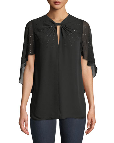 Yona Cape-Sleeve Sequin Silk Blouse