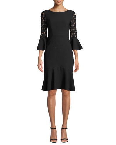 Bri Crochet-Sleeve Dress