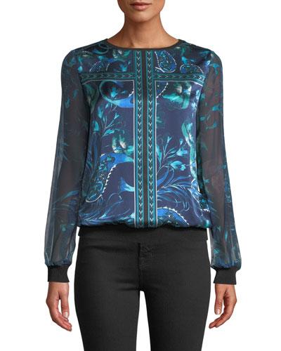 Mara Long-Sleeve Silk Blouse