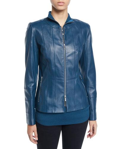 Courtney Lambskin Leather Jacket