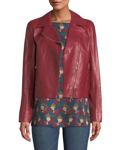 Mary-Kate Weightless Glazed Lambskin Leather Jacket