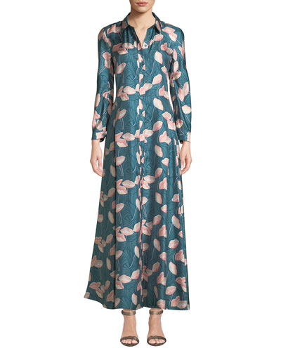 Siya Long-Sleeve Button-Front Graphic Floral Silk Dress