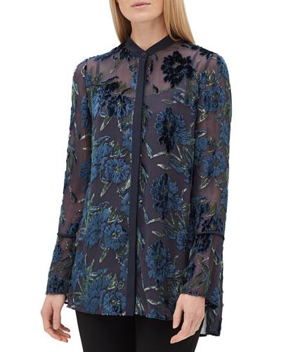 Nicolette Button-Front Long-Sleeve Floral Burnout Elite Panne Blouse