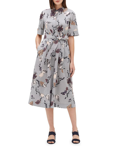 Eleni Artisan Bouquet Short-Sleeve Stretch Cotton Midi Dress